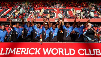 REPRO FREE***PRESS RELEASE NO REPRODUCTION FEE*** Limerick World Club 7s, Thomond Park, Limerick 10/8/2014 Daveta (Fiji) vs Vancouver (Final) The Daveta team celebrate winning Mandatory Credit ©INPHO/James Crombie